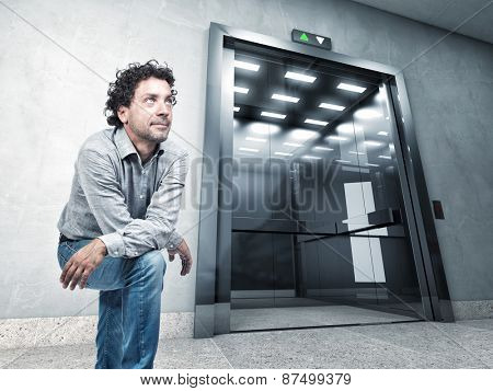 portrait man and 3d elevator
