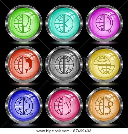 Globe set. Internet button. Vector illustration.