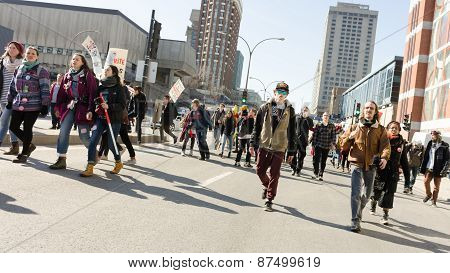 Student Protest On Berry And Ontario Streets In Montreal,Quebec,Canada