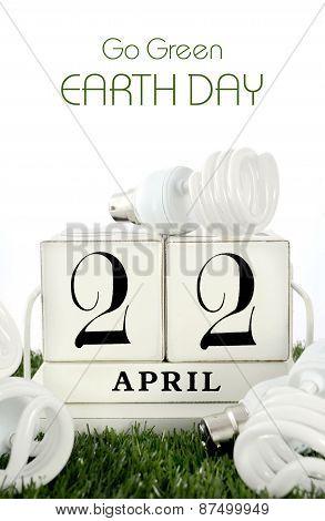 Earth Day, April 22, Concept With Energy Saving Light Bulbs.