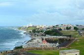 foto of el morro castle  - Old San Juan City Skyline and Santa Maria Magdalena de Pazzis Cemetery - JPG