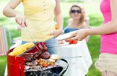 image of frazzled  - Host serving woman frazzled sausage on grill party - JPG