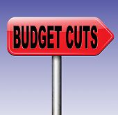 stock photo of reduce  - budget cuts reduce costs and cut spendings during crisis or economic recession  - JPG