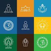pic of monogram  - vector yoga icons  - JPG
