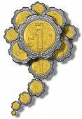 foto of pesos  - Mexican Peso gears growing like a flower - JPG
