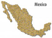picture of pesos  - Map made out of Mexican pesos coins - JPG