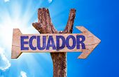 foto of guayaquil  - Ecuador wooden sign with sky background - JPG