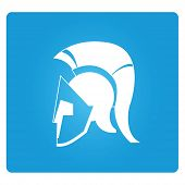 picture of mohawk  - Greek helmet symbol in blue square button - JPG