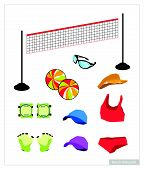image of ball cap  - Illustration Collection of Beach Volleyball Accessory and Equipment Leather Ball Net Wrist Protection Sun glasses Cap and Uniform Isolated on White Background - JPG