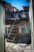 foto of armenia  - Photo of the shanty with ladder in urban district for poor Yerevan Armenia - JPG