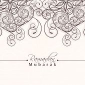 pic of ramazan mubarak card  - Beautiful floral decorated greeting card for holy month of muslim community - JPG