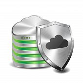 picture of shield  - Security concept with cloud storage database and metal shield - JPG