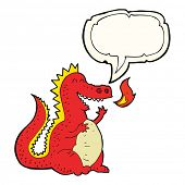 foto of fire-breathing  - cartoon fire breathing dragon with speech bubble - JPG