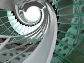 stock photo of spiral staircase  - modern glass spiral staircase with metallic hand - JPG
