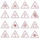 foto of fragile sign  - 16 various danger signs types outline icons eps10 - JPG