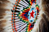 stock photo of american indian  - native american design with beading and feathers - JPG