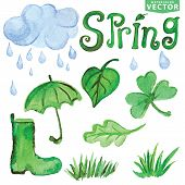 stock photo of rain cloud  - Words Spring with Watercolor leaves  - JPG