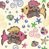 foto of shell-fishes  - Illustration with beautiful colorful fish starfish shells and algae - JPG