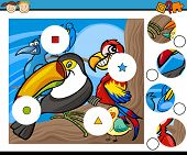 picture of brain teaser  - Cartoon Illustration of Match the Pieces Educational Game for Preschool Children - JPG