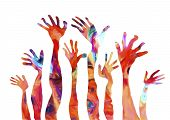 picture of finger-painting  - COLORFUL CREATIVE OIL PAINTING OF HUMAN HANDS ON WHITE BACKGROUND - JPG