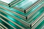 foto of manufacturing  - Sheets of Factory manufacturing tempered clear float glass panels cut to size - JPG