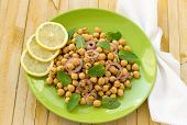 picture of chickpea  - Vegetarian chickpeas salad with sweet red onions - JPG