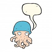 picture of crazy hat  - cartoon alien head wearing hat with speech bubble - JPG