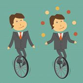 image of unicycle  - A clerk balancing on a unicycle retro - JPG