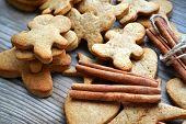 image of gingerbread man  - Gingerbread cookies in shapes of heart - JPG