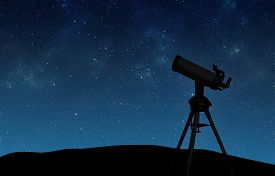 picture of moon silhouette  - Telescope silhouette against the starry sky - JPG