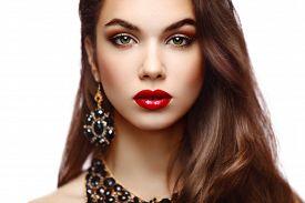 stock photo of lip  - Beauty Model Woman with Long Brown Wavy Hair - JPG