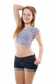 foto of pierced belly button  - modern pinup girl wearing hot pants and stripy belly top - JPG