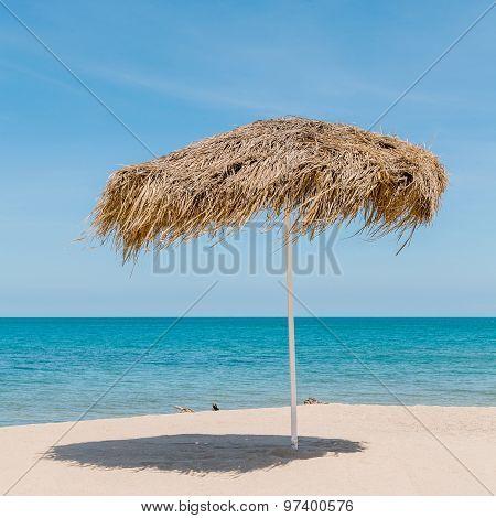 The Beautiful Straw Umbrella At The Beach. - At Koh Samui Thailand