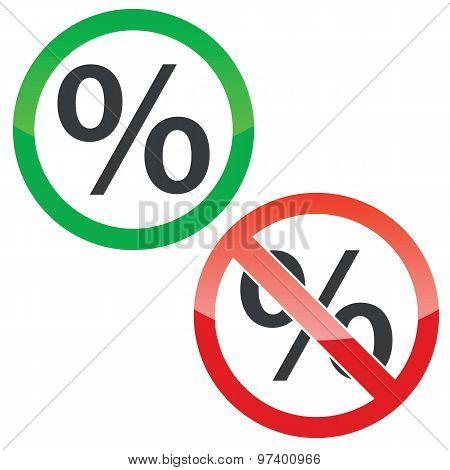 Percent permission signs set