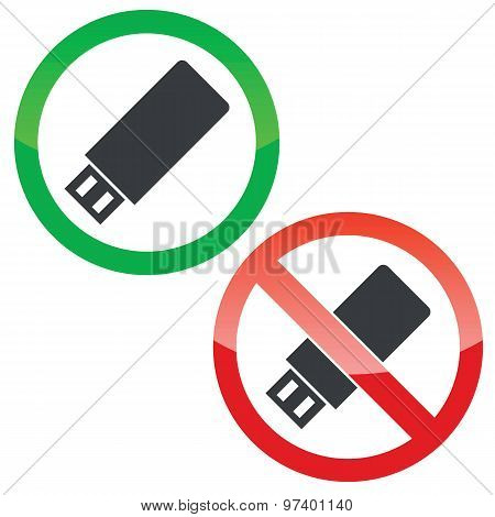 USB stick permission signs set