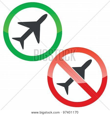Plane permission signs set