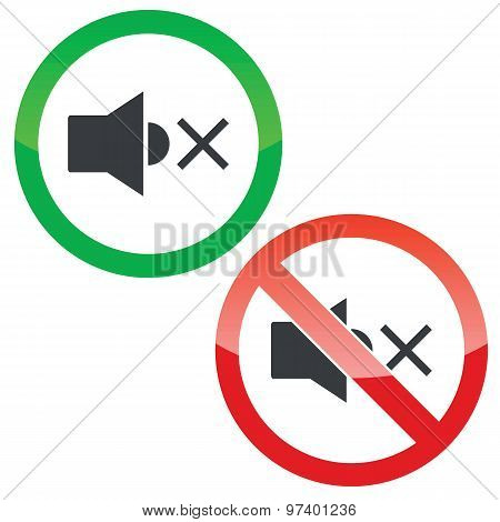 Mute permission signs set