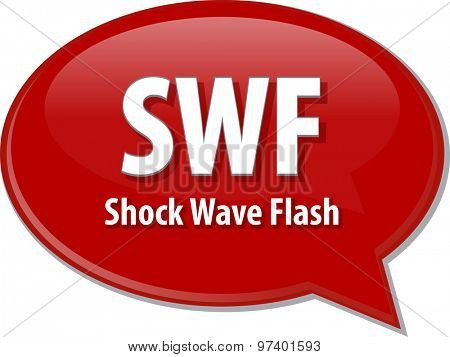 Speech bubble illustration of information technology acronym abbreviation term definition SWF Shock Wave Flash