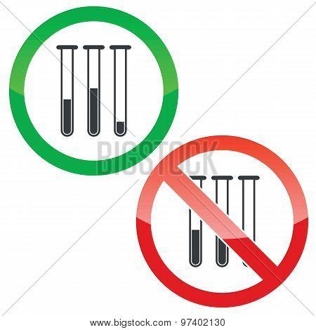 Test-tubes permission signs set
