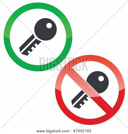 Key permission signs set