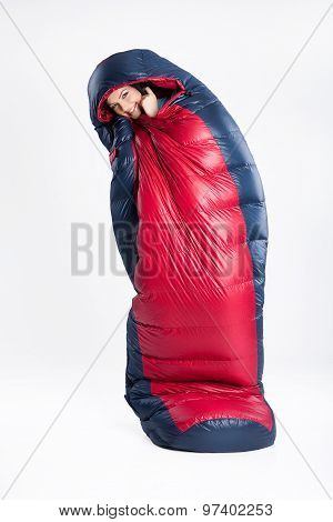 Young Woman In The Sleeping Bag