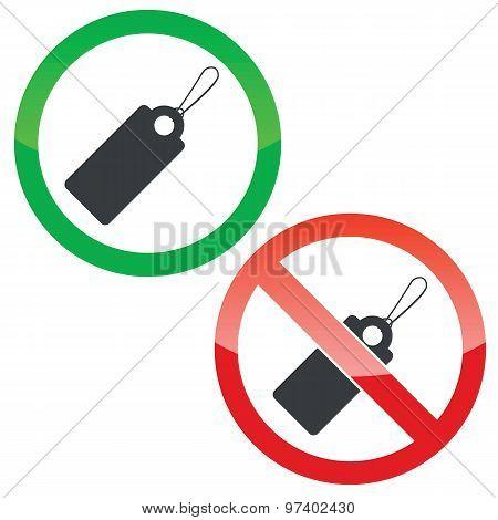 String tag permission signs set