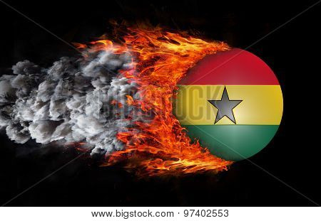 Flag With A Trail Of Fire And Smoke - Senegal