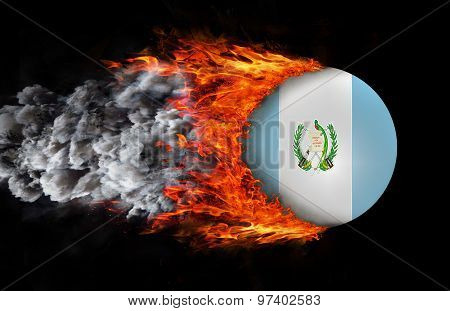 Flag With A Trail Of Fire And Smoke - Guatemala