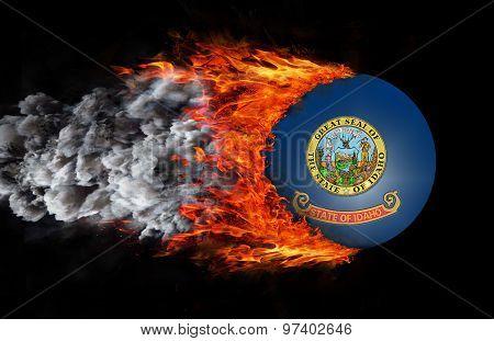 Flag With A Trail Of Fire And Smoke - Idaho