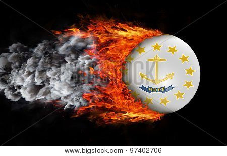 Flag With A Trail Of Fire And Smoke - Rhode Islands