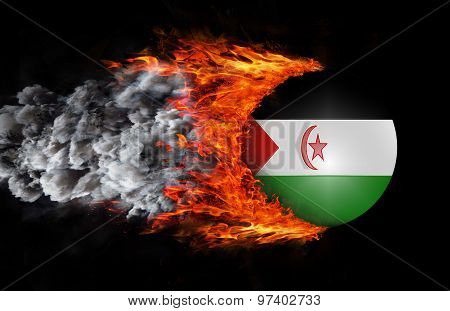 Flag With A Trail Of Fire And Smoke - Western Sahara