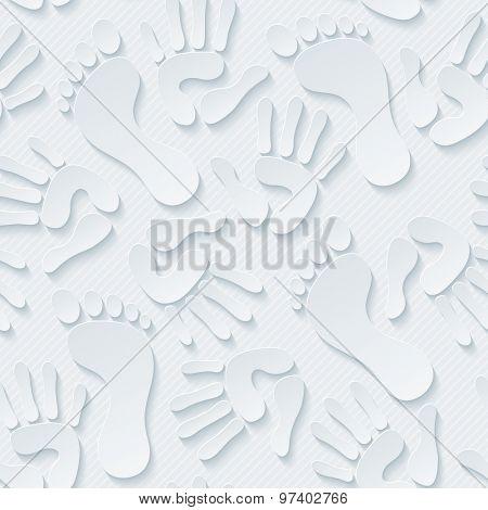 Handprints & footprints wallpaper. 3d seamless background. Vector EPS10.
