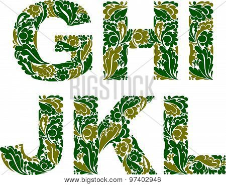 Decorative typescript with natural pattern. Flowery alphabet, calligraphic letters.