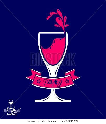 Alcohol theme vector art illustration. Festive goblet with decorative wavy ribbon, party and leisure